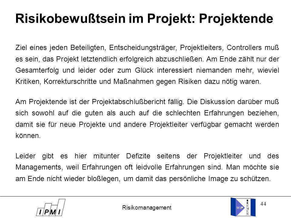 Risikobewußtsein im Projekt: Projektende