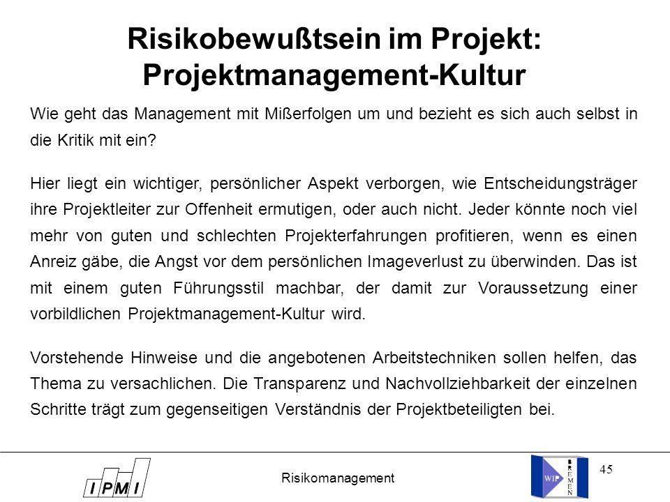 Risikobewußtsein im Projekt: Projektmanagement-Kultur