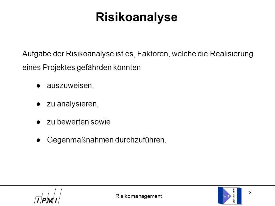 Risikoanalyse Aufgabe der Risikoanalyse ist es, Faktoren, welche die Realisierung eines Projektes gefährden könnten.