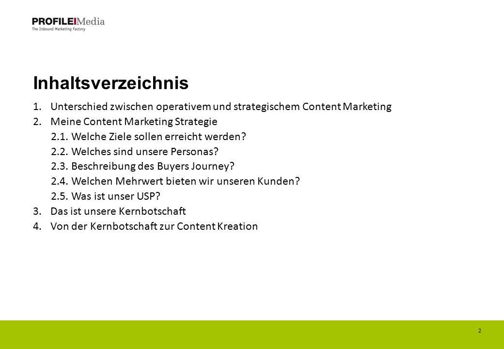 Inhaltsverzeichnis Unterschied zwischen operativem und strategischem Content Marketing. Meine Content Marketing Strategie.