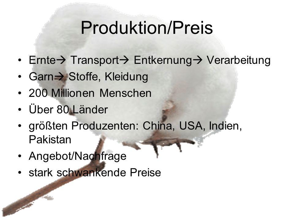 Produktion/Preis Ernte Transport Entkernung Verarbeitung