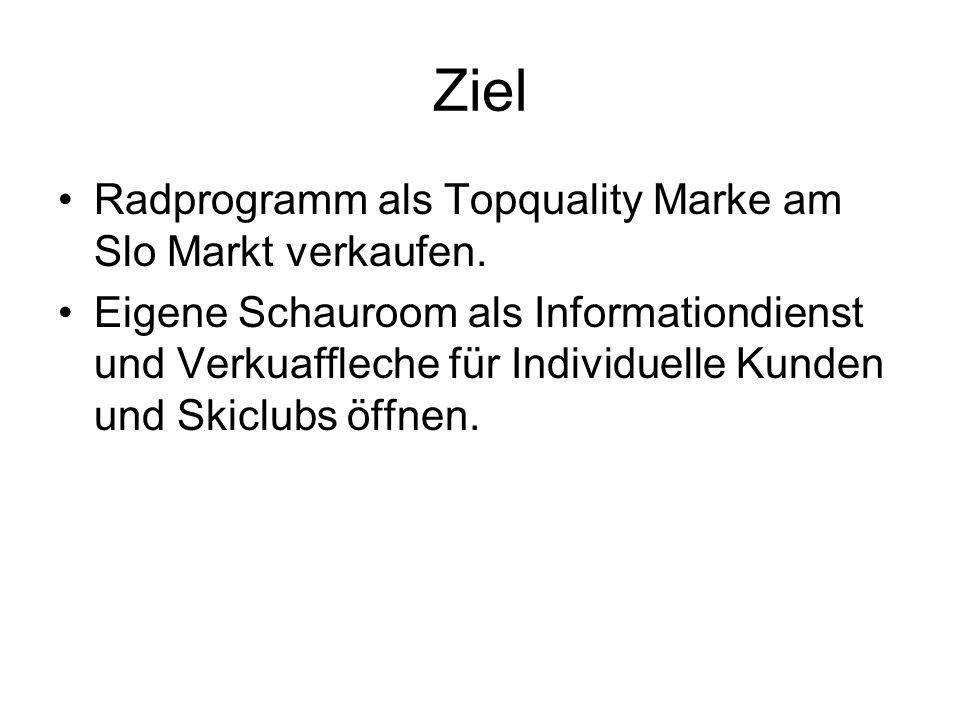 Ziel Radprogramm als Topquality Marke am Slo Markt verkaufen.