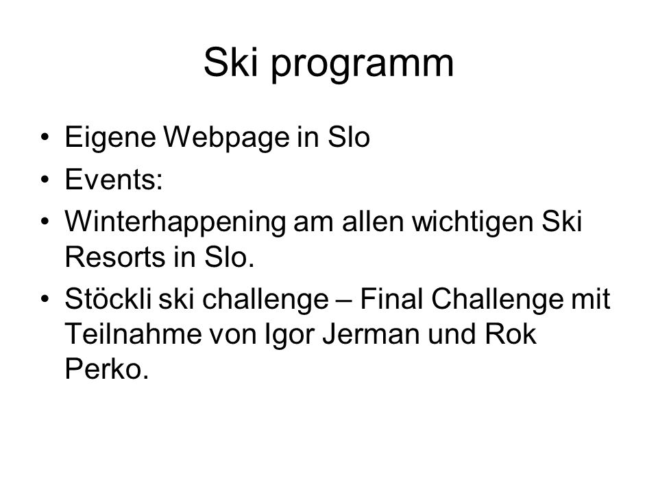 Ski programm Eigene Webpage in Slo Events: