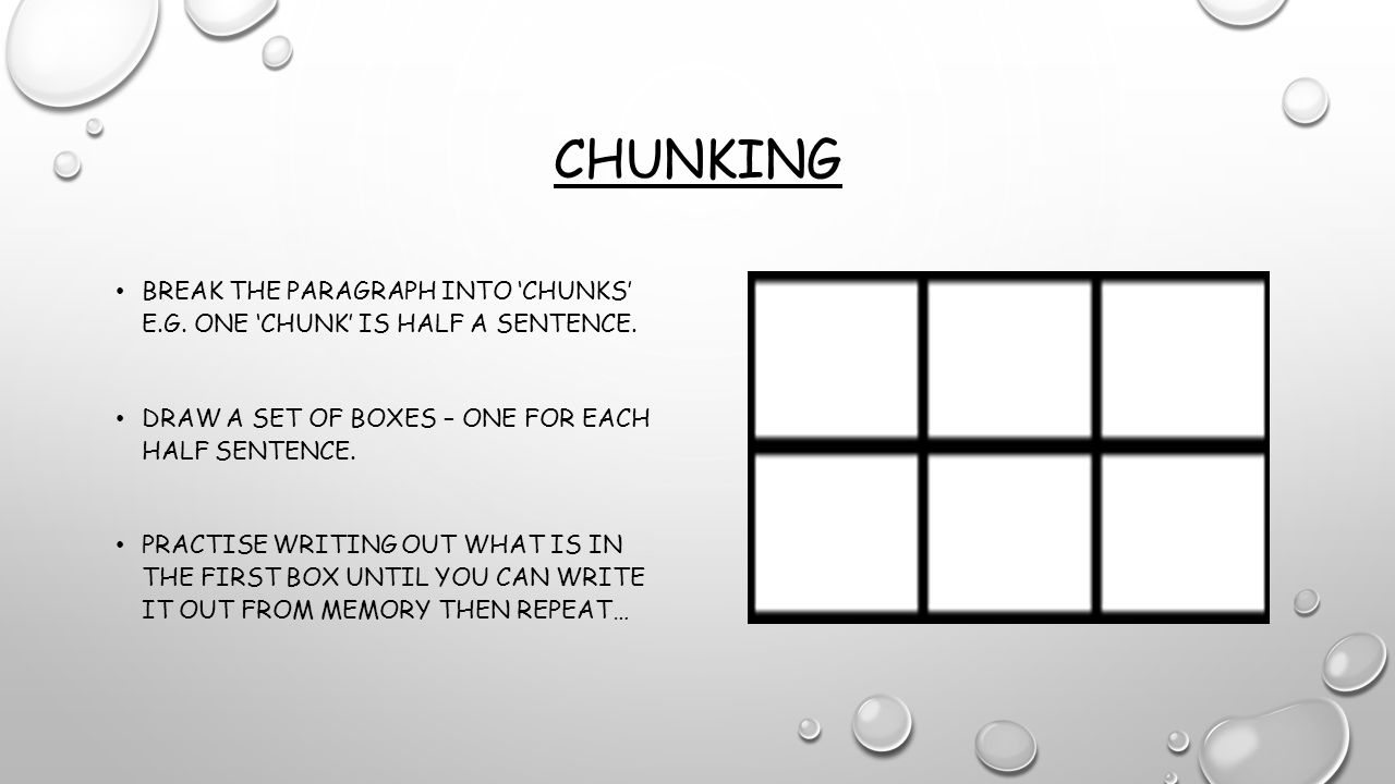 Chunking Break the paragraph into 'chunks' e.g. one 'chunk' is half a sentence. Draw a set of boxes – one for each half sentence.