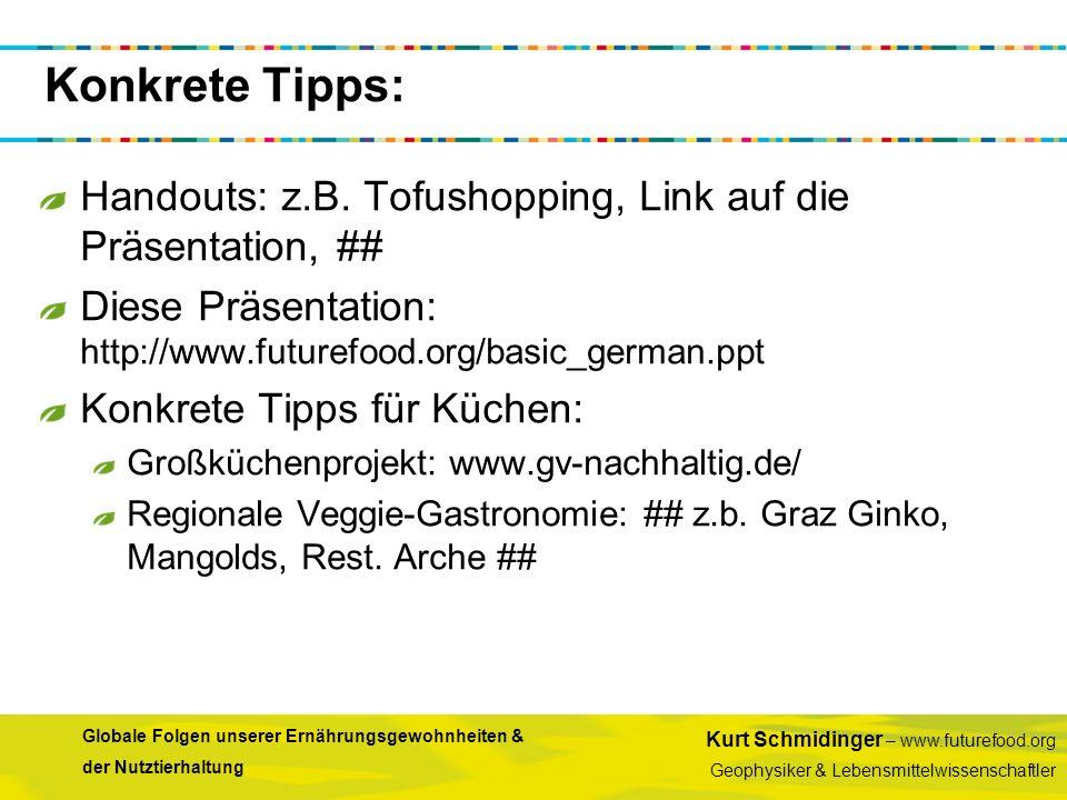 Konkrete Tipps: Handouts: z.B. Tofushopping, Link auf die Präsentation, ## Diese Präsentation: http://www.futurefood.org/basic_german.ppt.