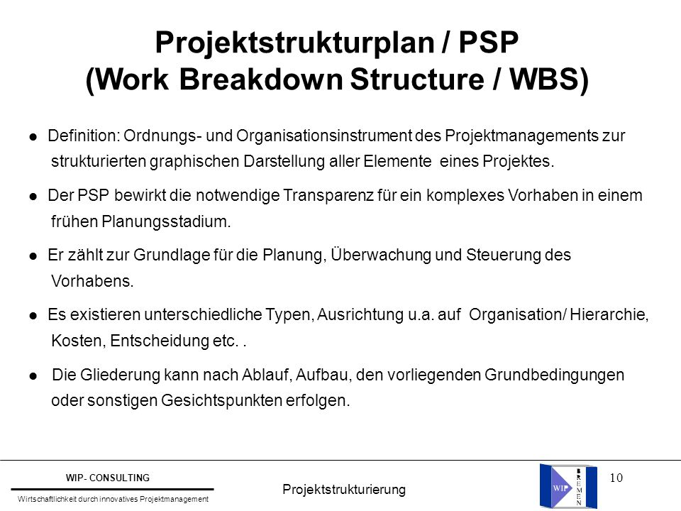 Projektstrukturplan / PSP (Work Breakdown Structure / WBS)