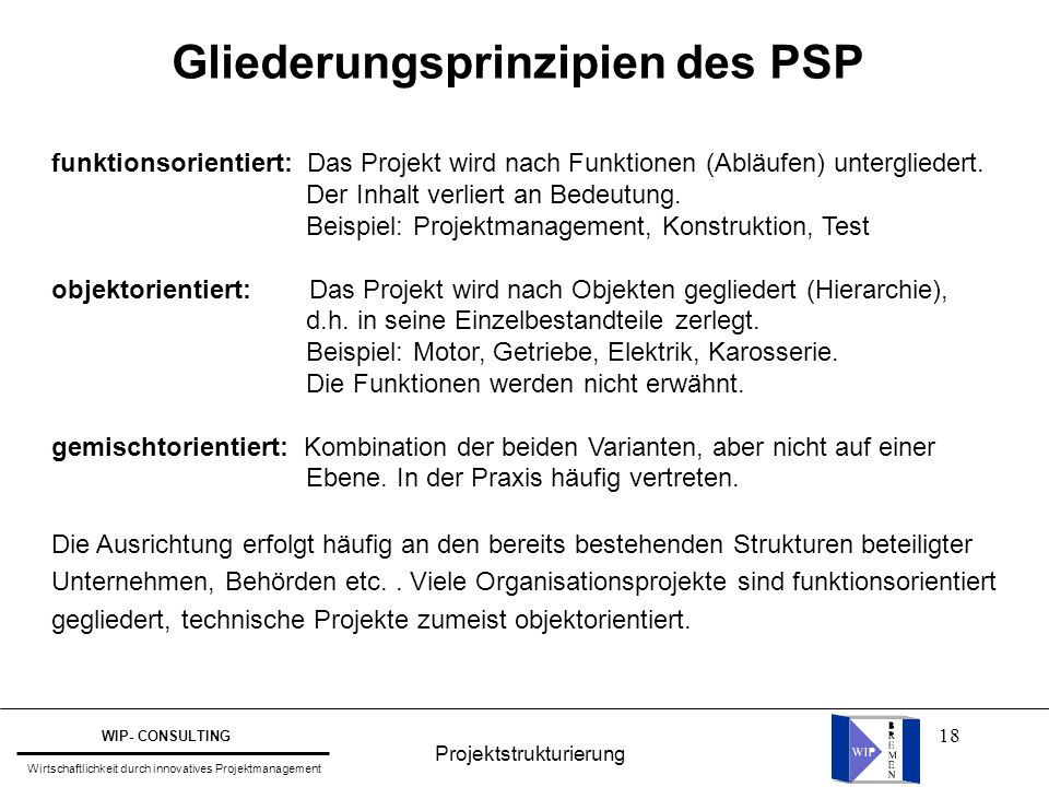 Gliederungsprinzipien des PSP
