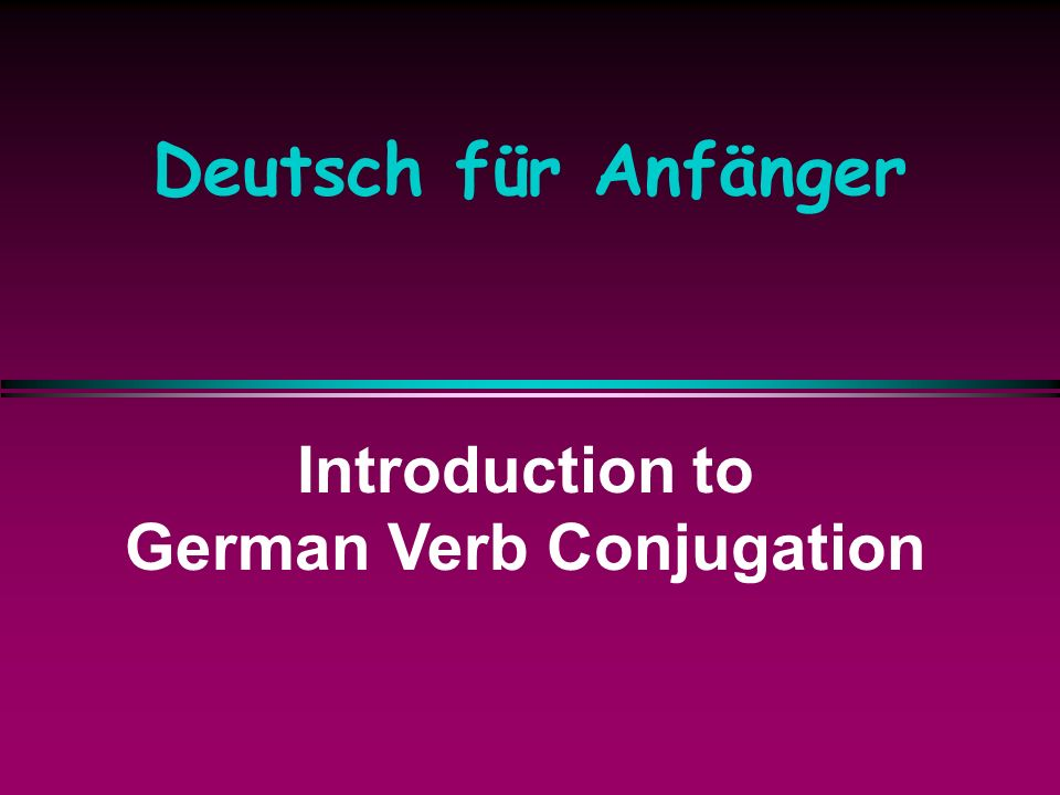 German Verb Conjugation
