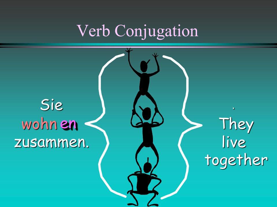 Verb Conjugation Sie zusammen. . wohn They live together en
