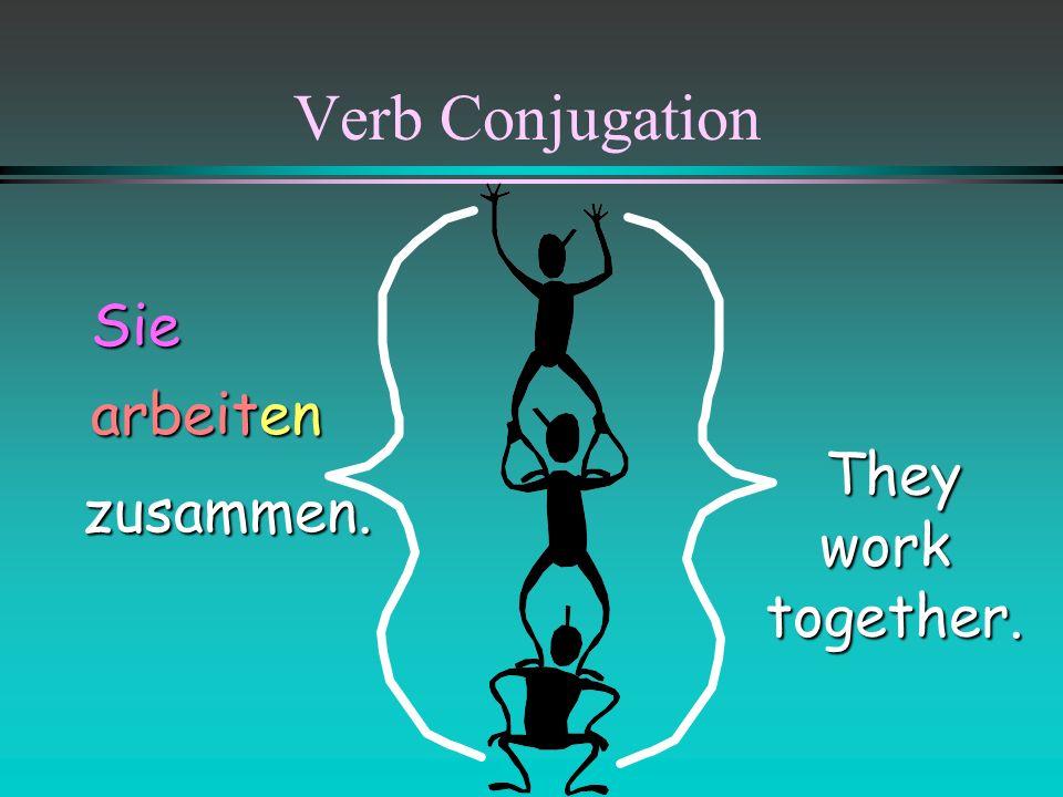 Verb Conjugation Sie arbeiten They work together. zusammen.