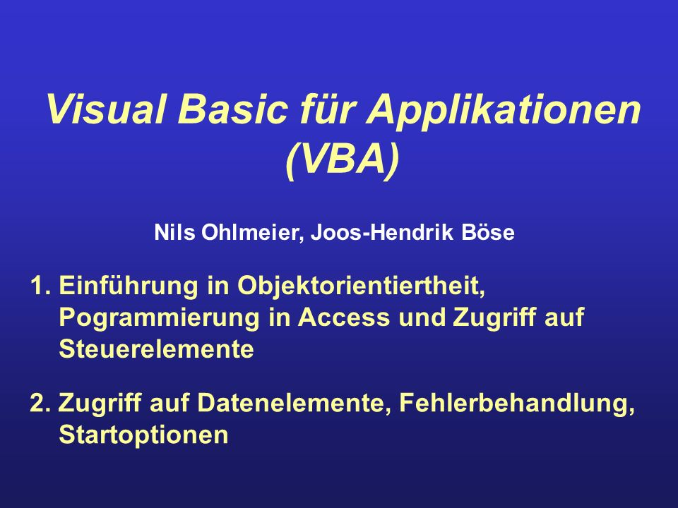 Visual Basic für Applikationen (VBA)