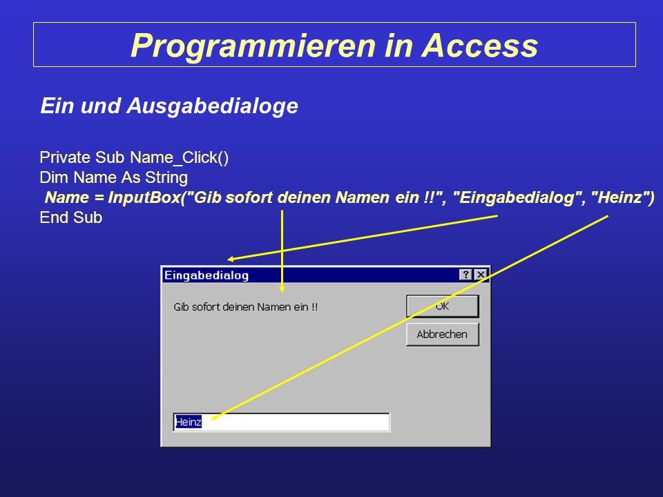 Programmieren in Access Ein und Ausgabedialoge