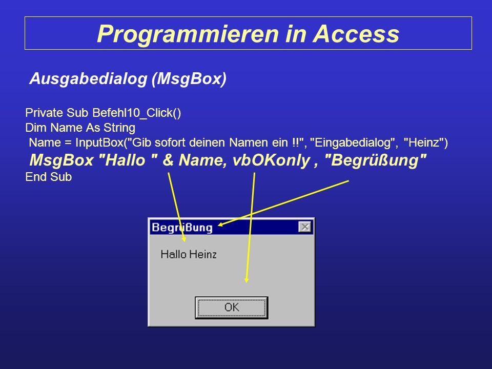 Programmieren in Access Ausgabedialog (MsgBox)