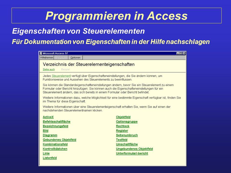 Programmieren in Access Eigenschaften von Steuerelementen