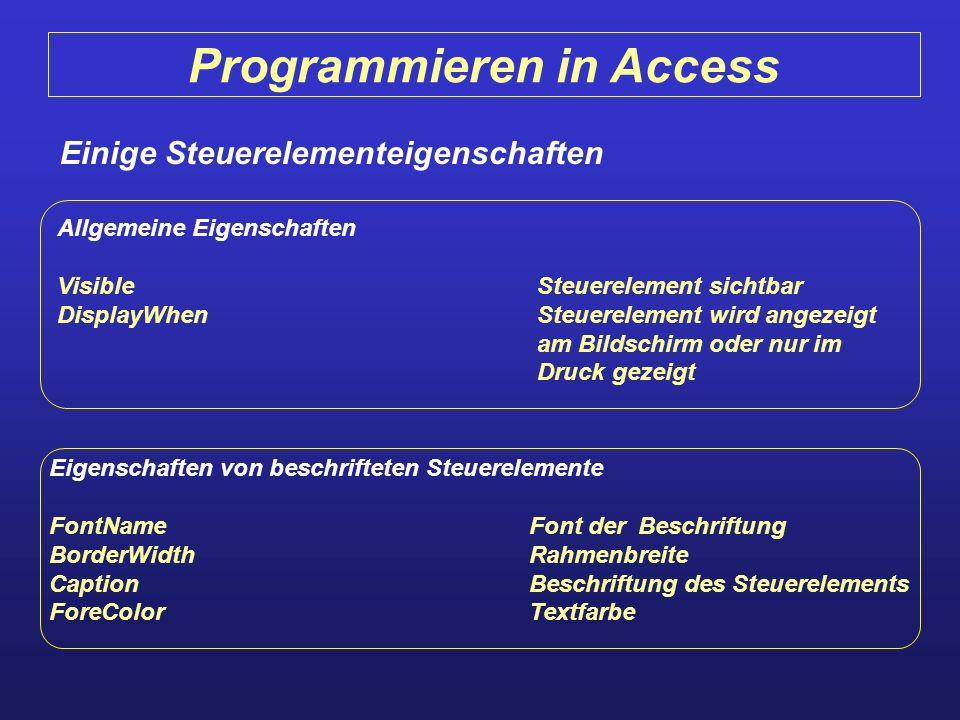 Programmieren in Access Einige Steuerelementeigenschaften