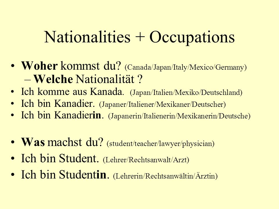 Nationalities + Occupations