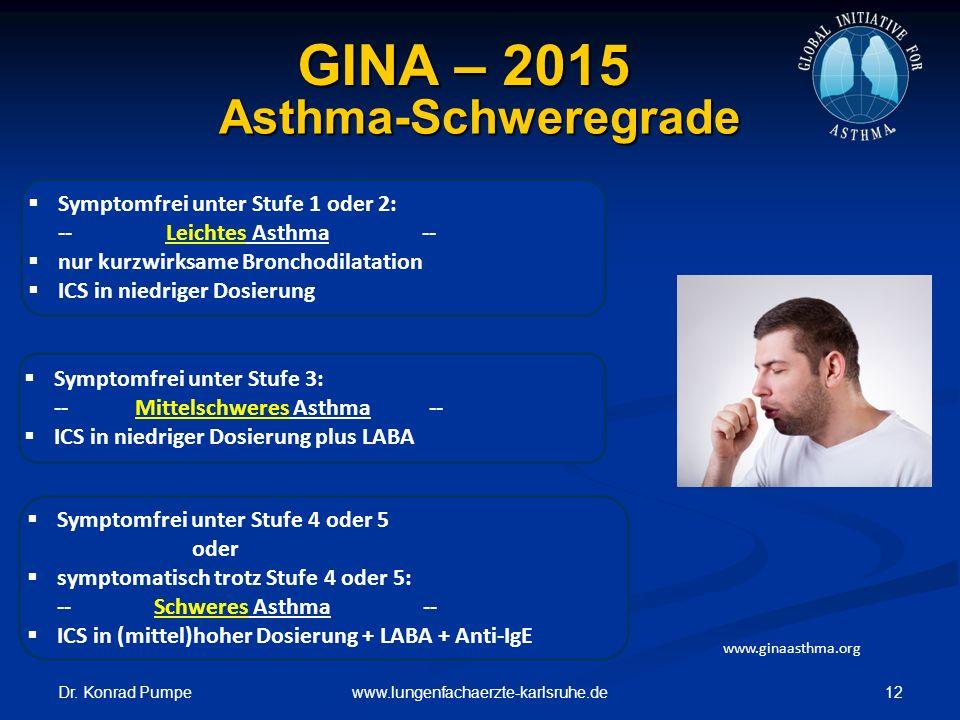 GINA – 2015 Asthma-Schweregrade Symptomfrei unter Stufe 1 oder 2: