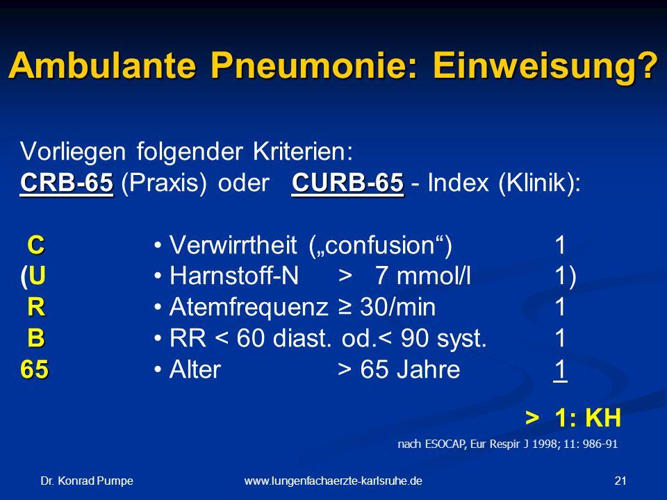 Ambulante Pneumonie: Einweisung