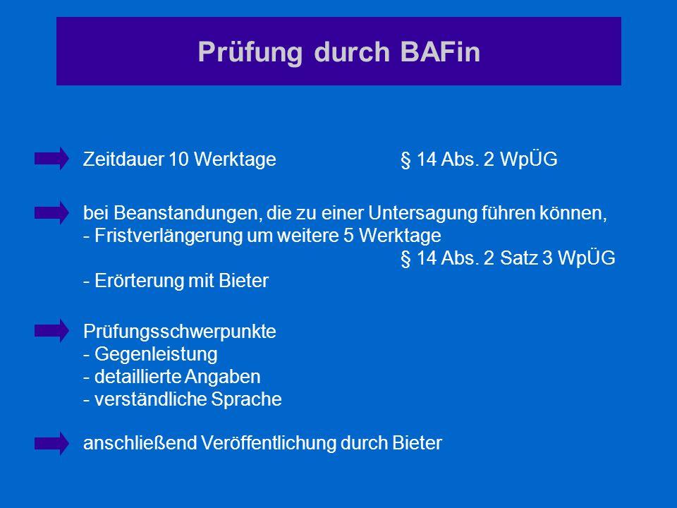 Prüfung durch BAFin Zeitdauer 10 Werktage § 14 Abs. 2 WpÜG