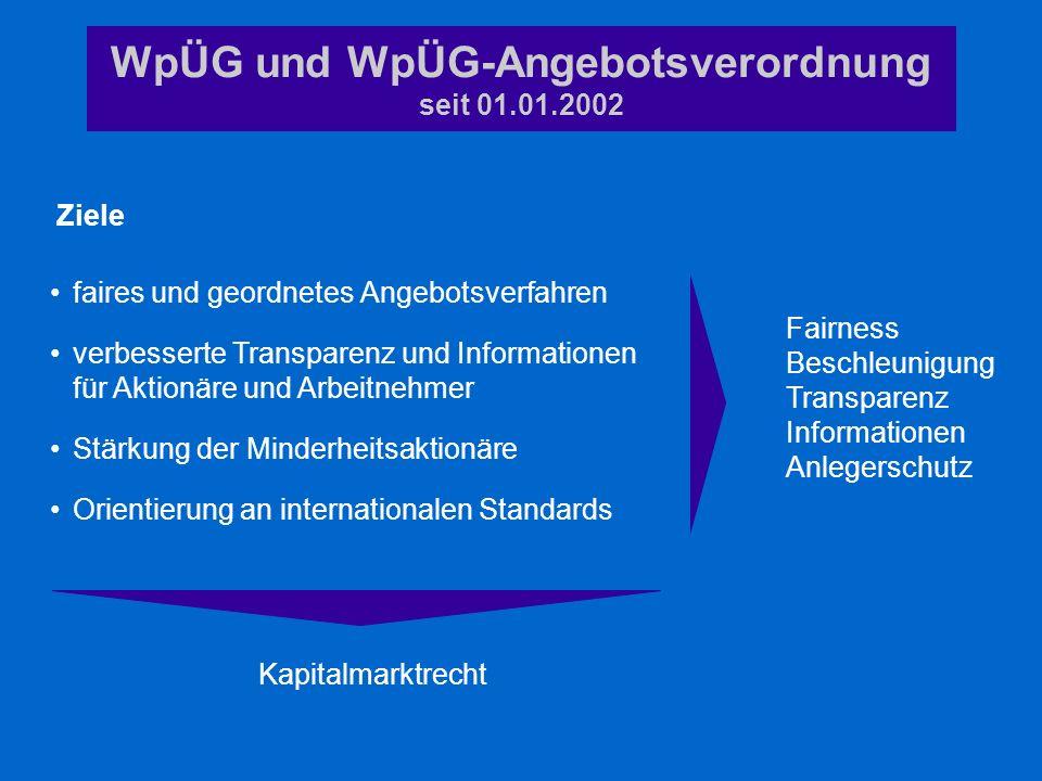 WpÜG und WpÜG-Angebotsverordnung seit 01.01.2002