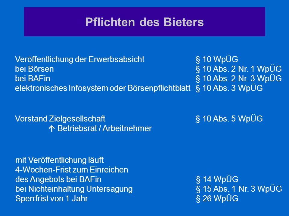 Pflichten des Bieters Veröffentlichung der Erwerbsabsicht § 10 WpÜG
