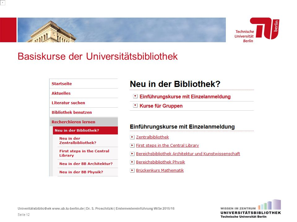 Basiskurse der Universitätsbibliothek