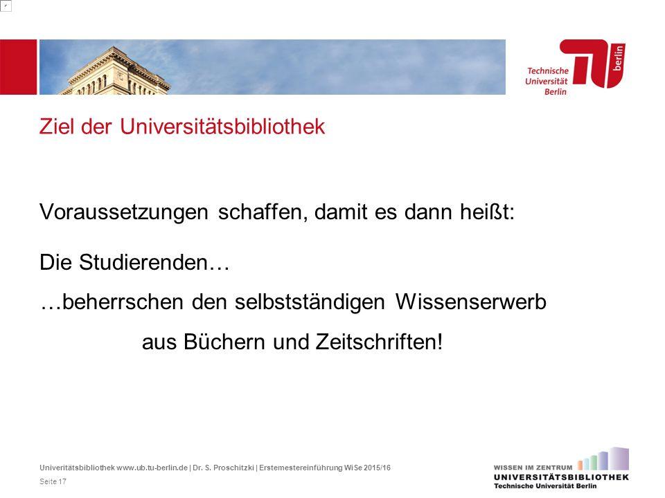 Ziel der Universitätsbibliothek