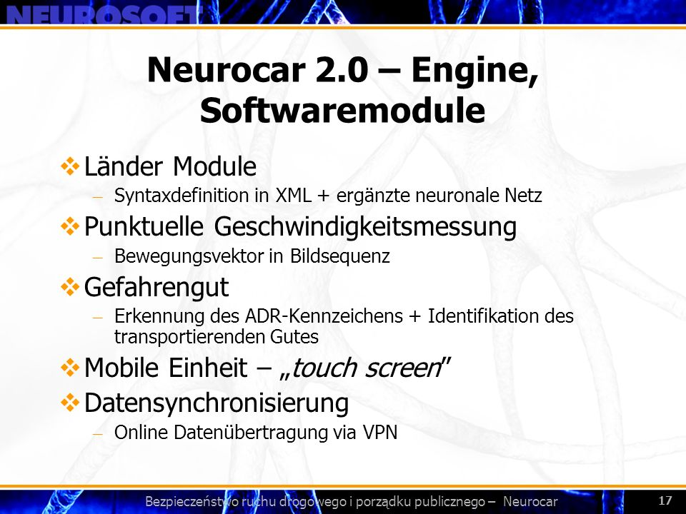 Neurocar 2.0 – Engine, Softwaremodule