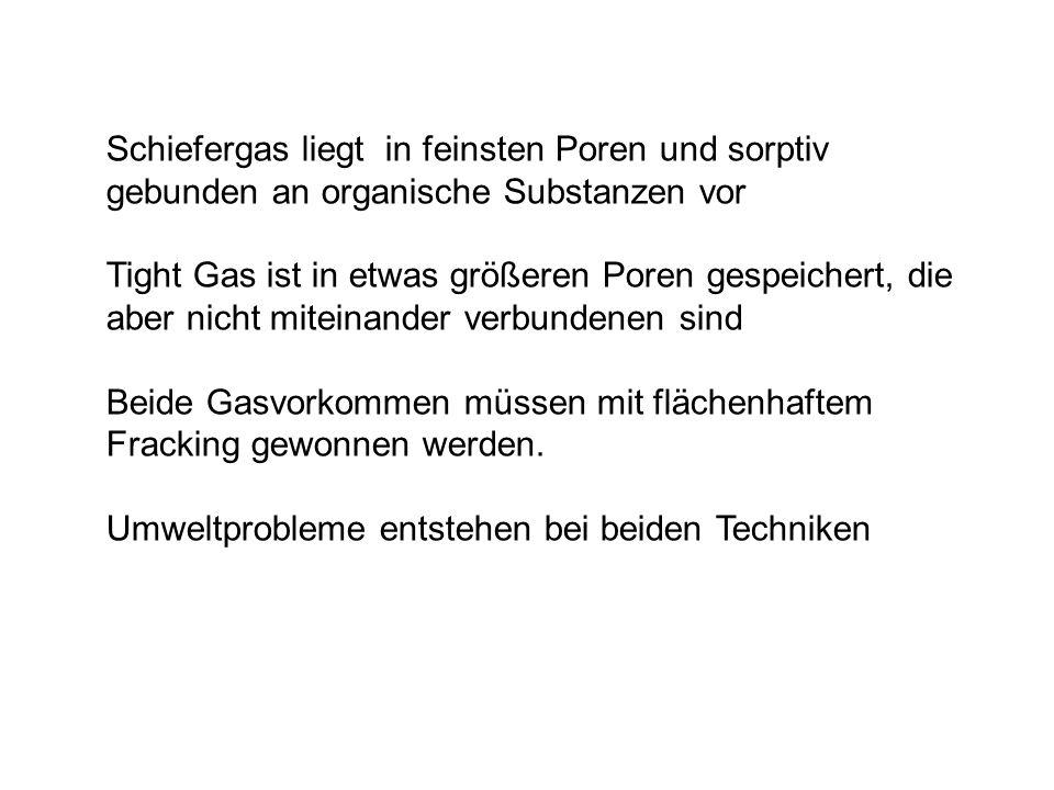 Beide Gasvorkommen müssen mit flächenhaftem Fracking gewonnen werden.
