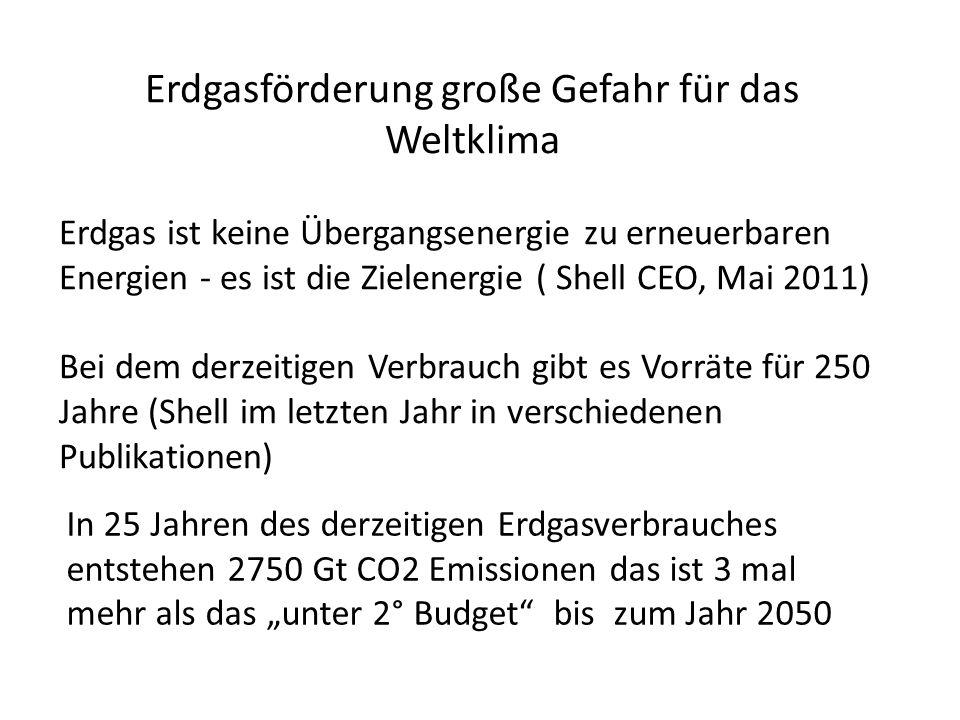 Erdgasförderung große Gefahr für das Weltklima