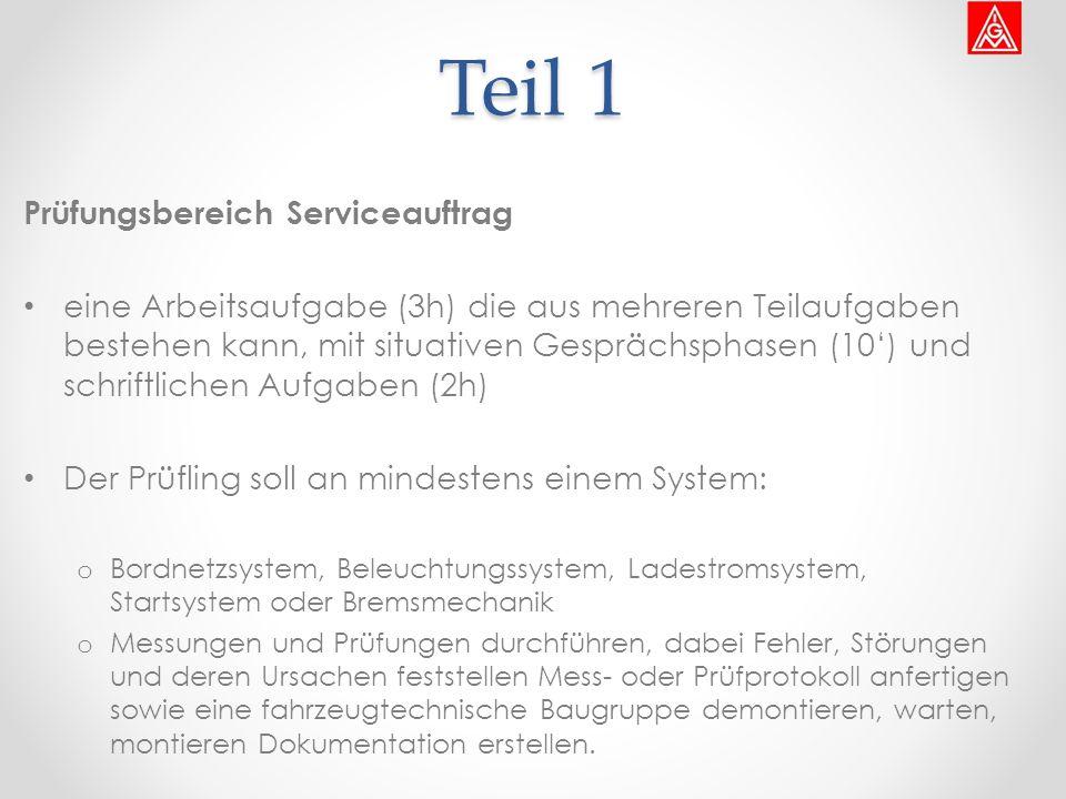Teil 1 Prüfungsbereich Serviceauftrag