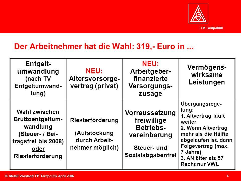 Der Arbeitnehmer hat die Wahl: 319,- Euro in ...