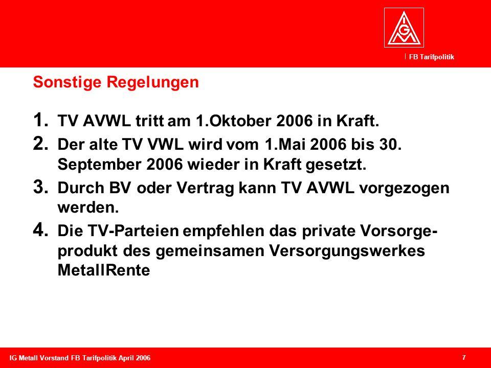 TV AVWL tritt am 1.Oktober 2006 in Kraft.