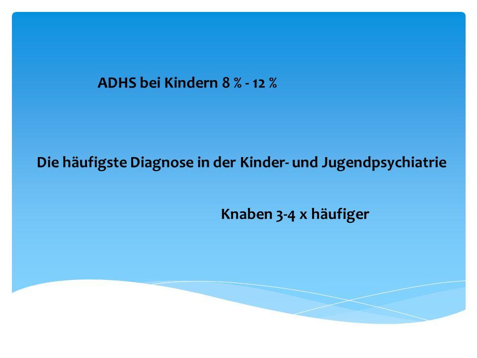 ADHS bei Kindern 8 % - 12 % Die häufigste Diagnose in der Kinder- und Jugendpsychiatrie.