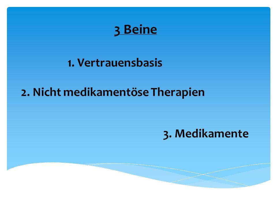 3 Beine 1. Vertrauensbasis 2. Nicht medikamentöse Therapien