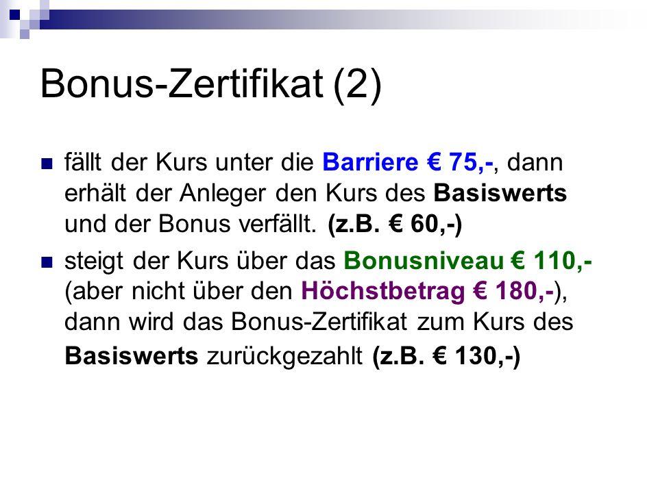 Bonus-Zertifikat (2) fällt der Kurs unter die Barriere € 75,-, dann erhält der Anleger den Kurs des Basiswerts und der Bonus verfällt. (z.B. € 60,-)