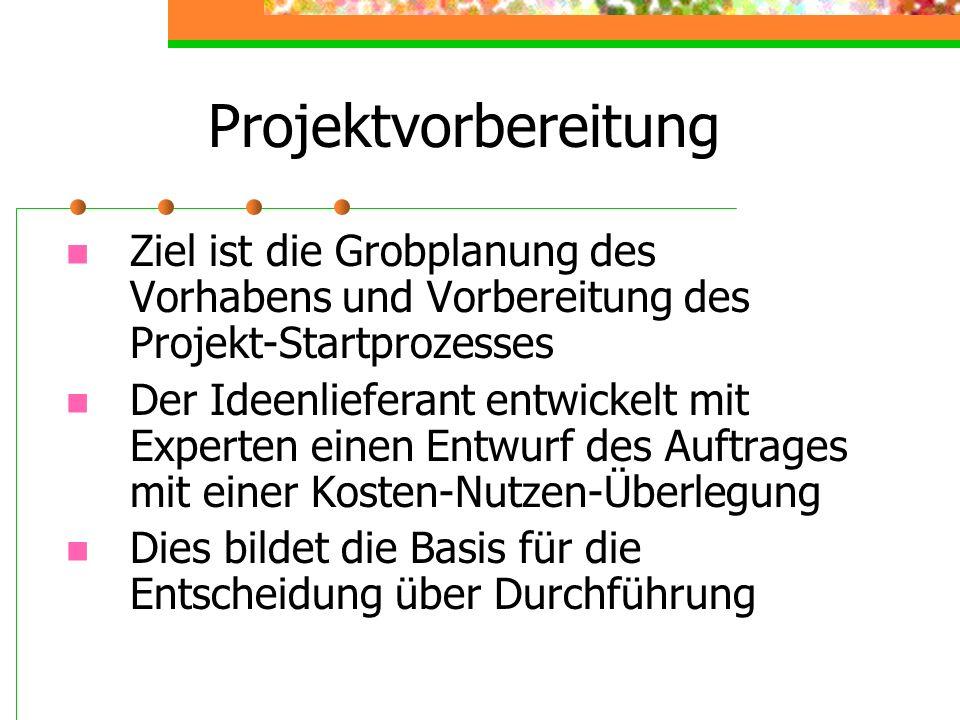 Projektvorbereitung Ziel ist die Grobplanung des Vorhabens und Vorbereitung des Projekt-Startprozesses.