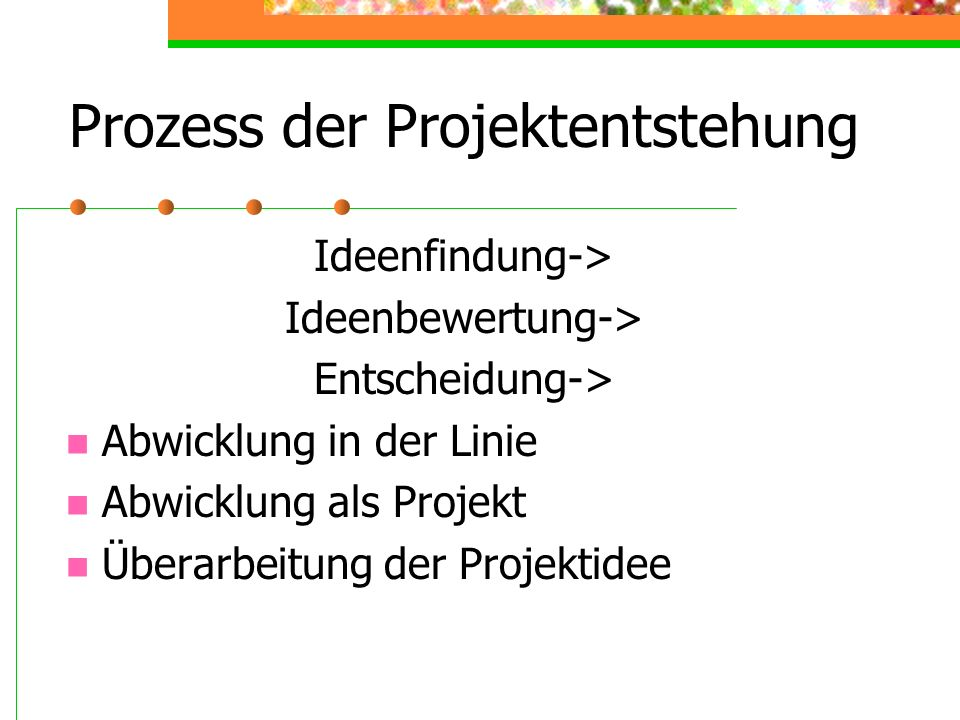 Prozess der Projektentstehung