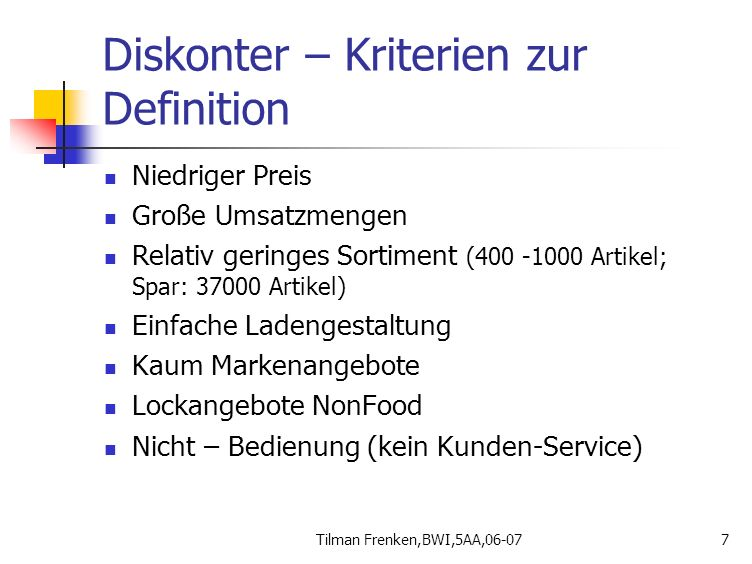 Diskonter – Kriterien zur Definition