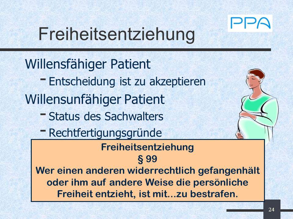 Freiheitsentziehung Willensfähiger Patient Willensunfähiger Patient