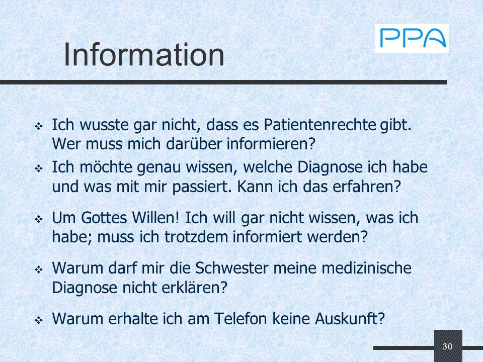 Information Ich wusste gar nicht, dass es Patientenrechte gibt. Wer muss mich darüber informieren