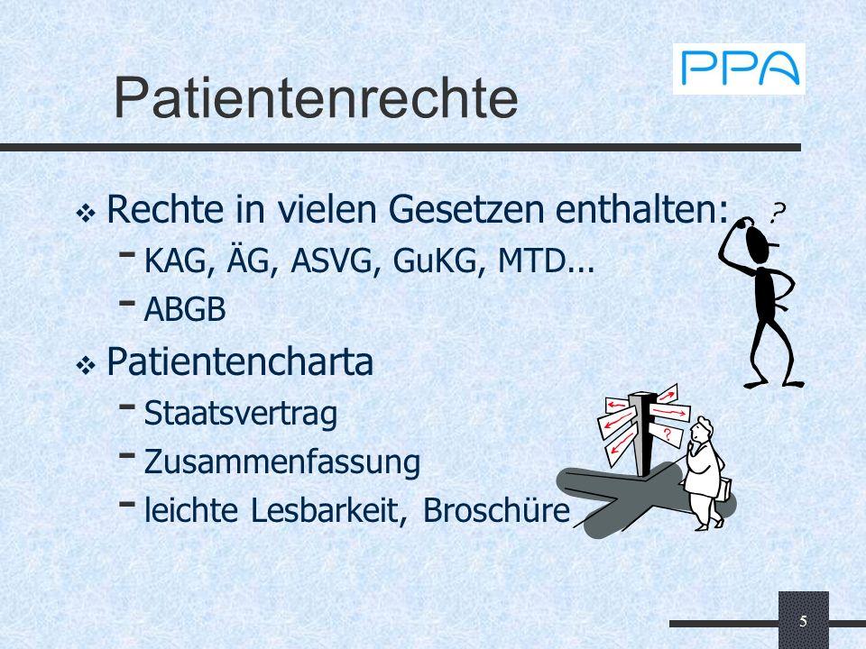 Patientenrechte Rechte in vielen Gesetzen enthalten: Patientencharta