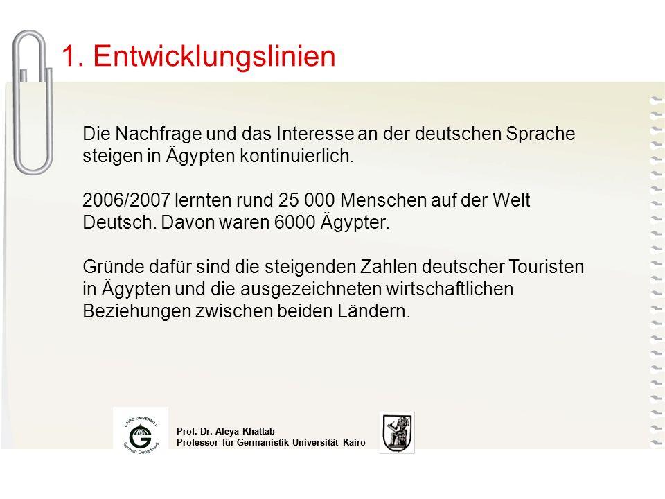 1. Entwicklungslinien Die Nachfrage und das Interesse an der deutschen Sprache steigen in Ägypten kontinuierlich.