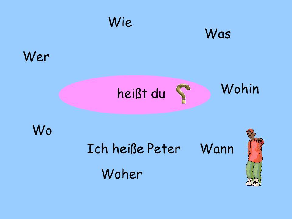 Wie Was Wer Wohin heißt du Wo Ich heiße Peter Wann Woher