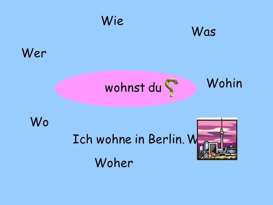 Wie Was Wer Wohin wohnst du Wo Ich wohne in Berlin. Wann Woher
