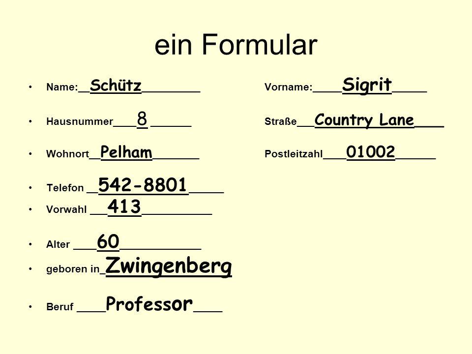 ein Formular Name:__Schütz__________ Vorname:_____Sigrit______