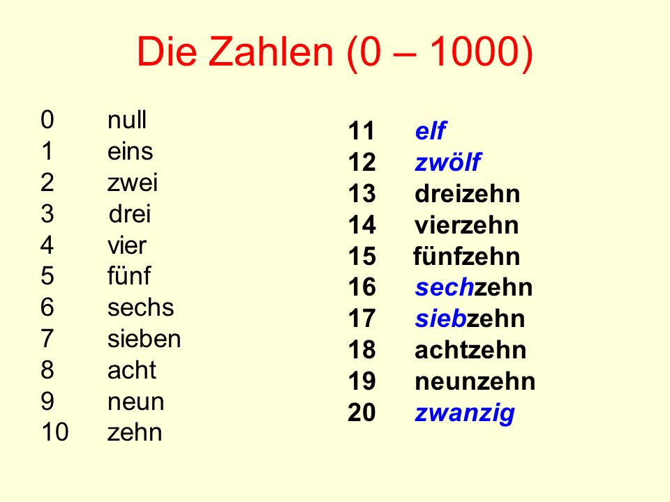 Die Zahlen (0 – 1000) 0 null 1 eins 11 elf 12 zwölf 2 zwei 13 dreizehn