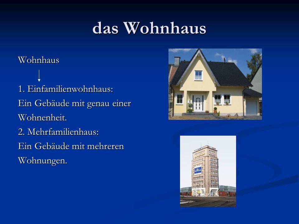 das Wohnhaus Wohnhaus 1. Einfamilienwohnhaus: