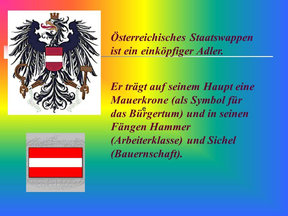 Österreichisches Staatswappen ist ein einköpfiger Adler.