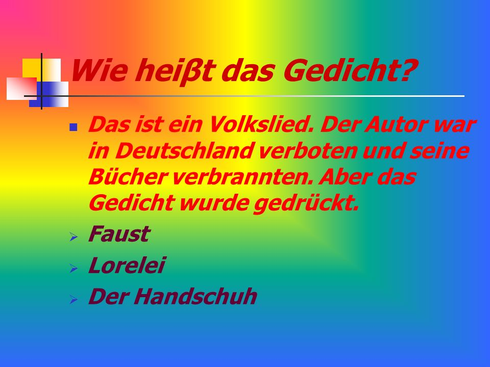 Wie heiβt das Gedicht Das ist ein Volkslied. Der Autor war in Deutschland verboten und seine Bücher verbrannten. Aber das Gedicht wurde gedrückt.